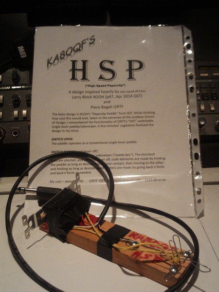 KA8OQF's homebrew HSP key, description in background, click to enlarge picture.