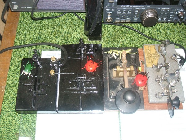 Photo 1, VK5BUG's line up of keys, Vibroplex Champion is the last key on the right, click to enlarge picture.